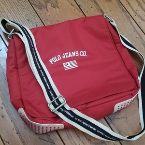 Ralph Lauren Polo Jeans Co Messenger Bag Red